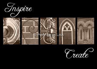 Inspire Dream Create Sepia 5 x 7